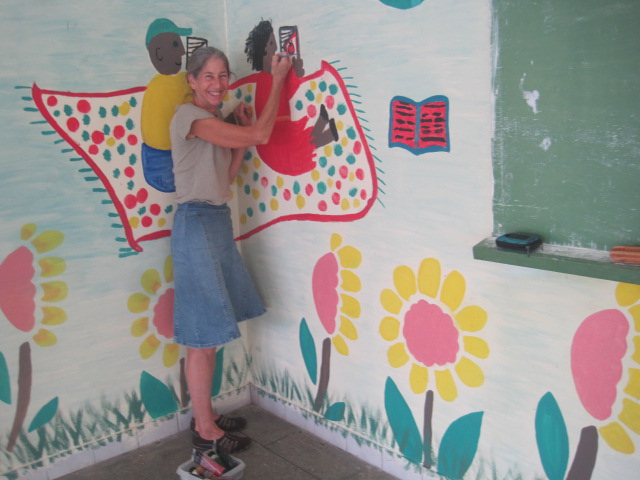 My friend, Judy Joyce, helping build a school in Dominica - Dominique Island.